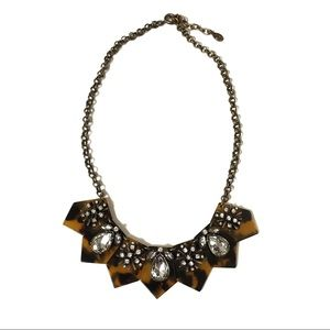 LOFT Tortoise Shell Crystal Statement Necklace